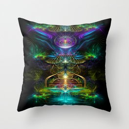 Neon - Fractal - Visionary Art - Manafold Art Throw Pillow