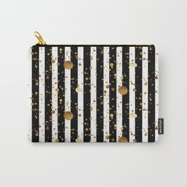 Stripes & Gold Splatter Carry-All Pouch