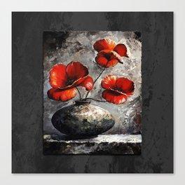 Poppies style black Canvas Print