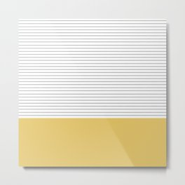 Minimal Gray Stripes - yellow Metal Print