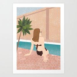 Relaxing in Swimming Pool Art Print
