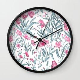 Nerium Oleander Pattern Wall Clock