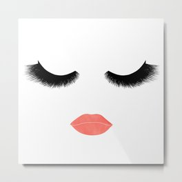 eyelashes with lips Metal Print