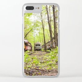 Abandoned Trolley Cemetery Clear iPhone Case