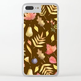 Autumn Fruits Leaves Pattern Clear iPhone Case