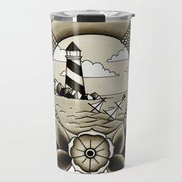 Ship Wreck Lighthouse Tattoo Travel Mug
