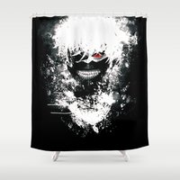 tokyo ghoul Shower Curtains featuring Kaneki Tokyo Ghoul by Prince Of Darkness