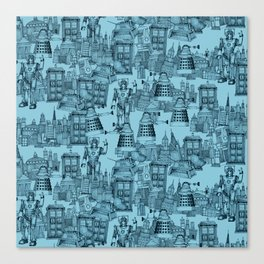 Doctor Who Toile de Jouy   'Walking Doodle'   Turquoise Canvas Print