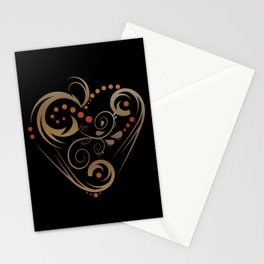 GOLDEN HEART  (valentine art deco abstract love) Stationery Cards