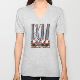 fox friends (with chickadees) Unisex V-Neck