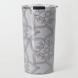 Silver gray lacey floral 2 Travel Mug