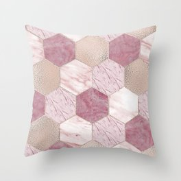 Carnation pink rose gold foil - marble hexagons Throw Pillow