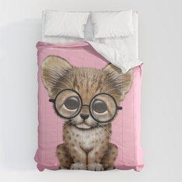 Cute Cheetah Cub Wearing Glasses on Pink Comforters