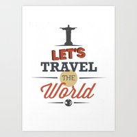 travel poster Art Prints featuring TRAVEL by Anthony Morell