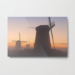 I - Traditional Dutch windmills in winter at sunrise Metal Print