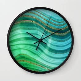 Ocean Blue And Green Mermaid Glamour Marble Wall Clock