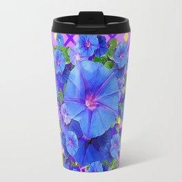 Blue & Purple Morning Glories Pattern Art Travel Mug