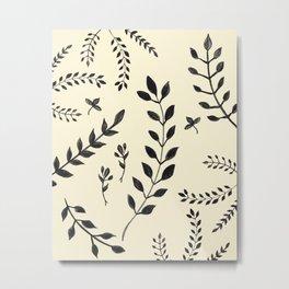 Black Leaves Pattern #2 #drawing #decor #art #society6 Metal Print