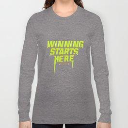Winning Starts Here Running Runner 5K Fun Run Green Long Sleeve T-shirt