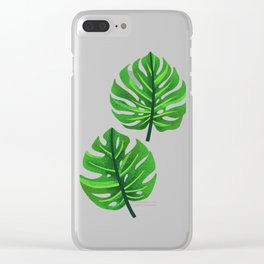 green monstera leaves illustration Clear iPhone Case