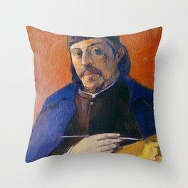 """Paul Gauguin """"Autoportrait à la palette (Self-Portrait with Palette)"""" Throw Pillow"""