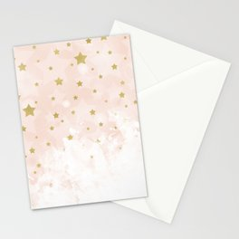 Gold stars on blush pink Stationery Cards