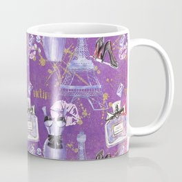 Fashion Victim - Paris France Elegance Shopping Girly in pink and purple Coffee Mug