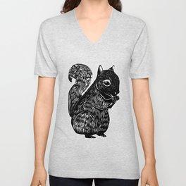 Black Squirrel Printmaking Art Unisex V-Neck