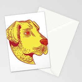Anatolian Shepherd Dog Head Etching Color Stationery Cards
