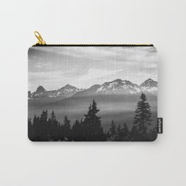 Morning in the Mountains Black and White Carry-All Pouch