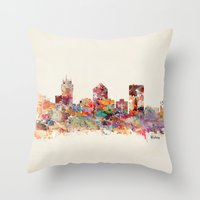 kansas Throw Pillows featuring wichita kansas by bri.buckley