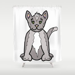 Adorable 6 Toed Polydactyl Grey Kitty Cat Shower Curtain