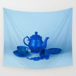 Blue tea party madness - still life Wall Tapestry