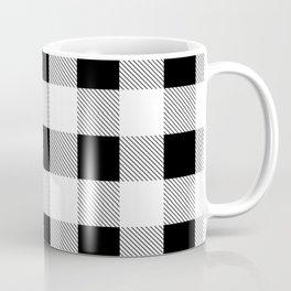 western country french farmhouse black and white plaid tartan gingham print Coffee Mug