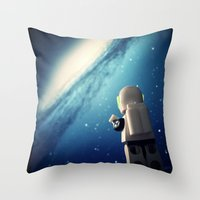 neil gaiman Throw Pillows featuring Neil in the galaxy by Salvatore Rotolo