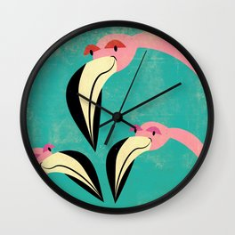 The Curious Flamingos Wall Clock