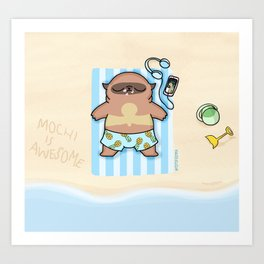 Mochi the pug sunbathing Art Print