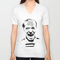 bukowski V-neck T-shirts featuring Charles Bukowski Quote Crowd by Fligo