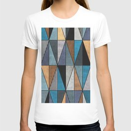 Colorful Concrete Triangles - Blue, Grey, Brown T-shirt