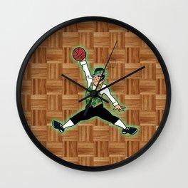 Celtics Leprechaun Jumpman Wall Clock