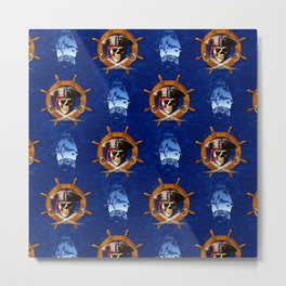 Ocean Blue Jolly Roger Pirate Wheel Metal Print