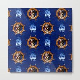 Ocean Blue Jolly Roger Pirate Wheel Metal Print
