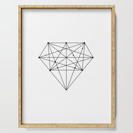 Geometric Diamond black-white poster design lowpoly fashion home decor canvas wall art Serving Tray