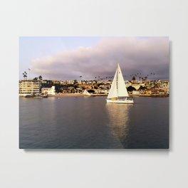 Sailing At Sunset in Newport Harbor Metal Print