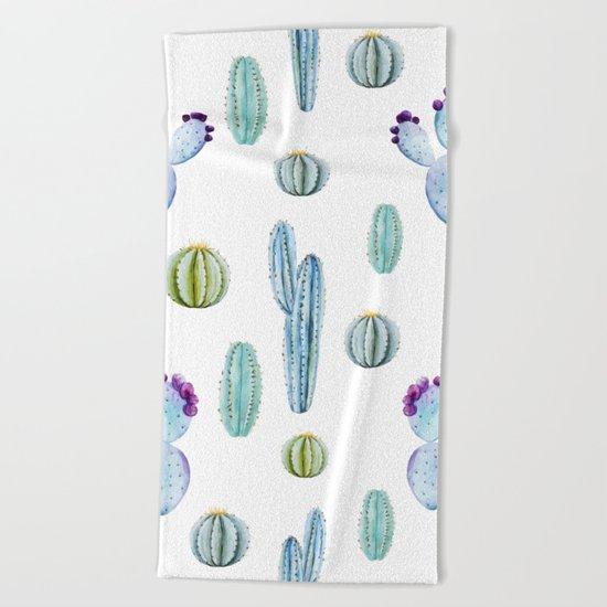Cactus Pattern 01 Beach Towel