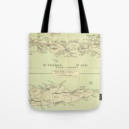 Vintage Map of The Virgin Islands (1853) Tote Bag