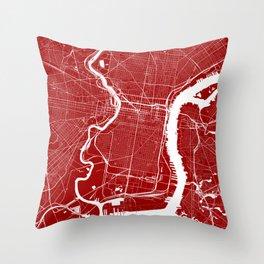 Red City Map of Philadelphia, PA Throw Pillow