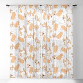 Fun Pembroke Welsh Corgi Pattern Sheer Curtain