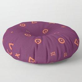 Happy Particles - Dark Red Floor Pillow