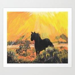 Stallion At Sunset Art Print